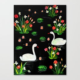 Slavic Folk Art Inspired Acrylic and Gouache Two Swans Painting, Perfect Gift For The Holidays Canvas Print
