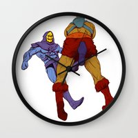 skeletor Wall Clocks featuring skeletor kick by Toni Caputo