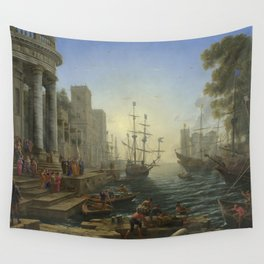 Seaport with the Embarkation of Saint Ursula by Claude Wall Tapestry