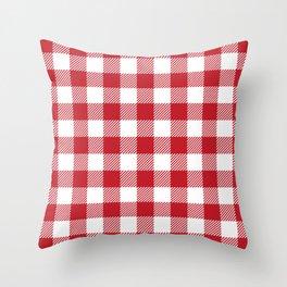 Buffalo Plaid - Red & White Throw Pillow