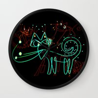 kittens Wall Clocks featuring NEON KITTENS by Vanja Cankovic