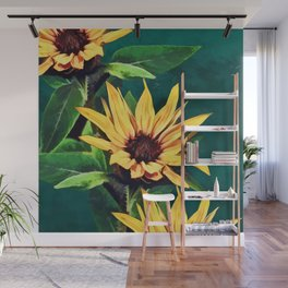 Watercolor sunflowers Wall Mural