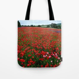 Pink Poppies in a field of Red Tote Bag