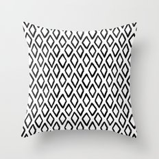 Abstract geometric pattern. Black and white rhombus background. Modern hand drawn art print. Gift Throw Pillow