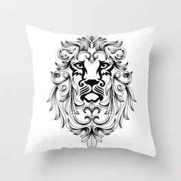 Heraldic Lion Head Throw Pillow
