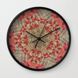 Red Clovers Wall Clock