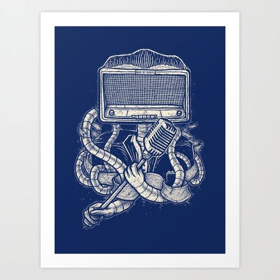 Rocker robot Navy Art Print