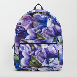 Purple blue tulips blooming abstract Backpack
