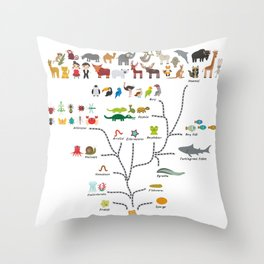 Evolution scale from unicellular organism to mammals. Evolution in biology, scheme evolution Throw Pillow