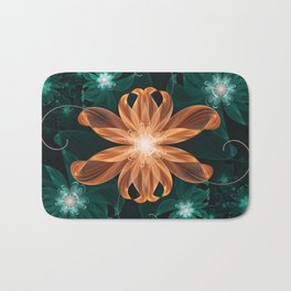Alluring Turquoise and Orange Tiger Lily Flower Bath Mat