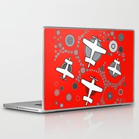 airplanes Laptop & iPad Skins featuring airplanes in red by Isabella Asratyan