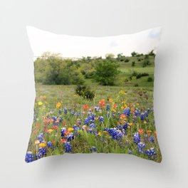 Bluebonnets, Indian Paintbrushes & Wildflowers Throw Pillow
