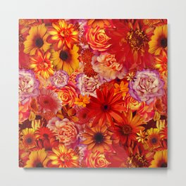 rojo bouquet rich red hot mixed flowers bright floral autumn Metal Print