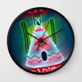 TeePee Neon Sign Tucumcari Wall Clock