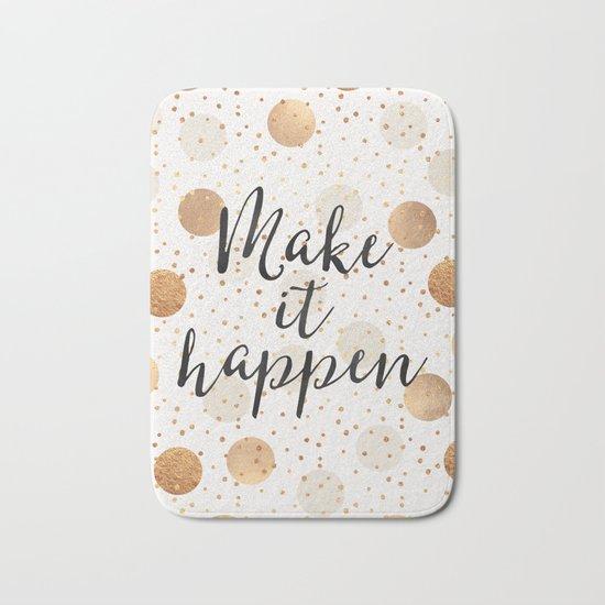 Make It Happen - Gold Dots Bath Mat
