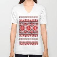 ukraine V-neck T-shirts featuring Ukraine-ornament 2 by  Nikolay Ampilogow