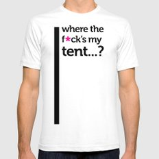 Where the f*ck is my tent? White SMALL Mens Fitted Tee