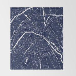 Paris France Minimal Street Map - Navy Blue and White Reverse Throw Blanket
