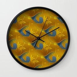 Golden Diamond Leaf pattern Wall Clock