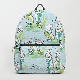 Ocean Aqua Magical Purrmaids Blue Fantasy Pattern Backpack