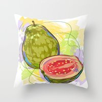 vietnam Throw Pillows featuring Vietnam Guava by Vietnam T-shirt Project