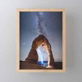 Starry Night Pointer at Milky Way Night sky in Moab Arches National Park  Utah USA  Framed Mini Art Print