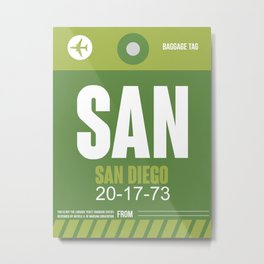 SAN San Diego Luggage Tag 2 Metal Print