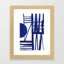 Blue grid -abstract minimalist ink painting Framed Art Print
