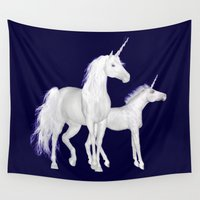 unicorns Wall Tapestries featuring FANTASY - Unicorns by valzart