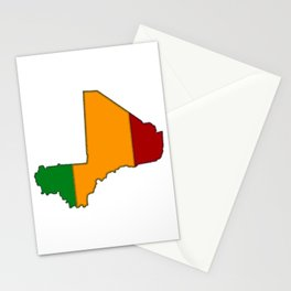 Mali Map with Malian Flag 2 Stationery Cards