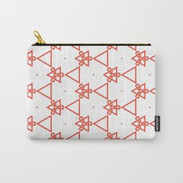 Modern minimalist Orange And White Geometric Pattern Carry-All Pouch