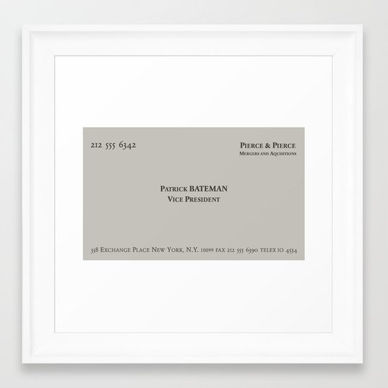 American psycho patrick bateman business card framed art print by american psycho patrick bateman business card framed art print by skjelseth society6 colourmoves