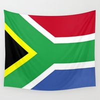 south africa Wall Tapestries featuring South Africa Flag (1994) by Barrier Style & Design