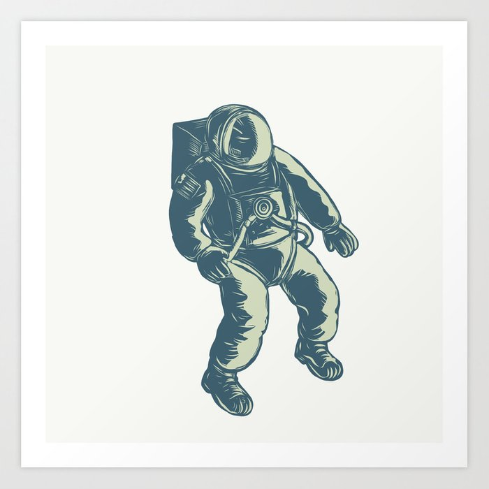 Astronaut Floating In Space Scratchboard Art Print By Patrimonio