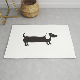 Simple black and white dachshund Rug