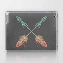 Tribal Arrows Turquoise Coral Gradient on Gray Laptop & iPad Skin