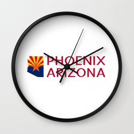 Arizona: Phoenix (State Shape & Flag) Wall Clock