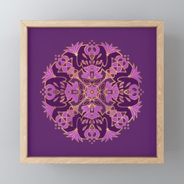 Lotus Mandala - Purple and Gold Framed Mini Art Print