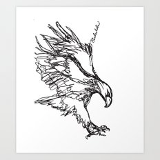 Eagle Landing (all one line) Art Print