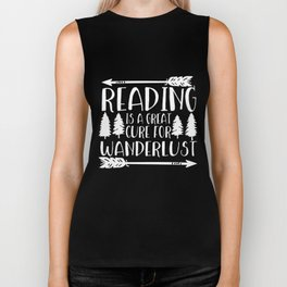 Reading is a Great Cure for Wanderlust (Green Background) Biker Tank