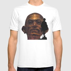 Gandhi - the walk - orange version White Mens Fitted Tee MEDIUM