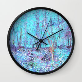 Van Gogh Trees & Underwood Aqua Lavender Wall Clock
