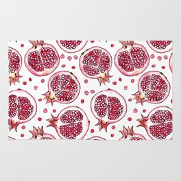 Pomegranate watercolor and ink pattern Rug