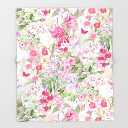 Vintage & Shabby Chic - Pastel Spring Flower Medow Throw Blanket