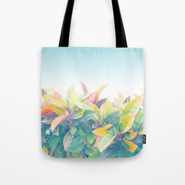 After the rain / Tropical Croton Leaves 4 Tote Bag