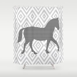 Horse - Abstract geometric pattern - gray, black and white. Shower Curtain