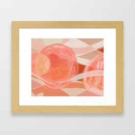 Shapes and Layers no.22 - Pink, coral, peach, orange abstract painting Framed Art Print