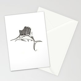 Surfing the fish Stationery Cards