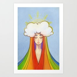 Sun and the clouds with a rainbow Art Print