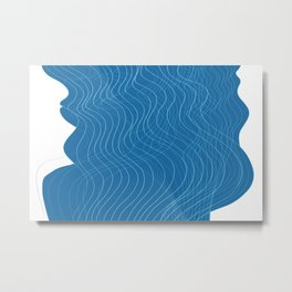Waves Lines Blue - White Lines Metal Print